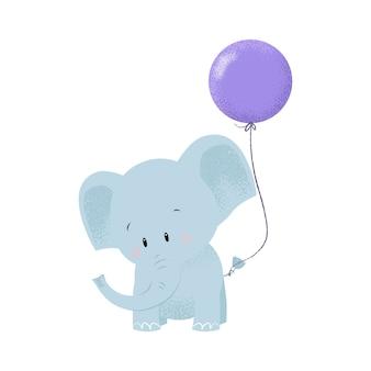 Leuke babyolifant met luchtballon die op staart wordt gebonden