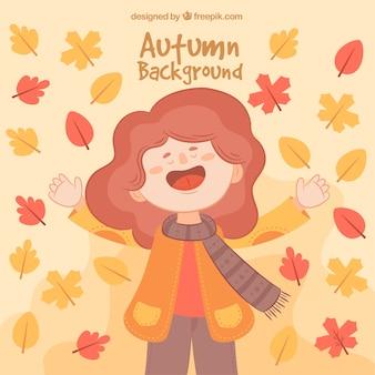 Leuke backgroud met gelukkige vrouw en herfstbladeren