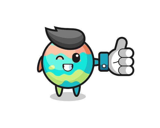 Leuke badbommen met social media thumbs up symbool, schattig stijlontwerp voor t-shirt, sticker, logo-element