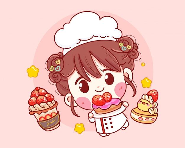 Leuke bakkerijchef-kok die en cake glimlacht houdt