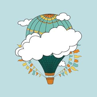 Leuke banner met heteluchtballonnen, wolken en plaats voor uw tekst