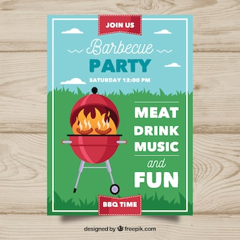 Leuke barbecue party poster in plat ontwerp