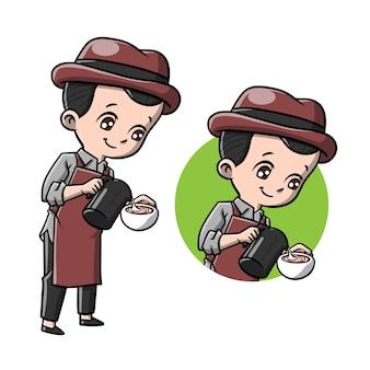 Leuke barista man cartoon