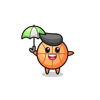 Leuke basketbalillustratie met een paraplu, schattig stijlontwerp voor t-shirt, sticker, logo-element
