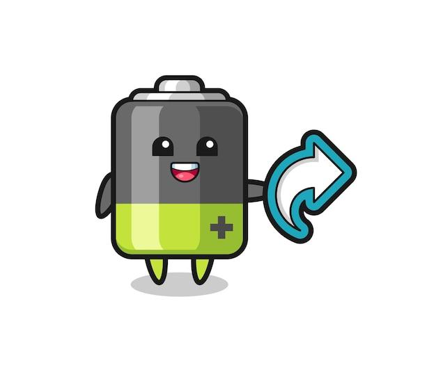 Leuke batterij houdt sociale media deelsymbool, schattig stijlontwerp voor t-shirt, sticker, logo-element