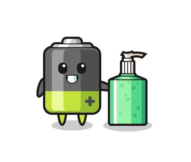 Leuke batterijcartoon met handdesinfecterend middel, leuk stijlontwerp voor t-shirt, sticker, logo-element