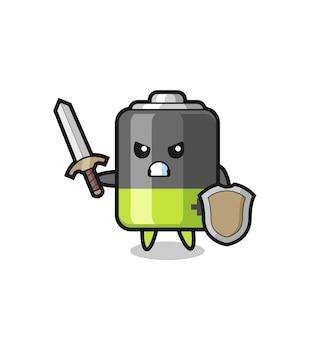 Leuke batterijsoldaat die vecht met zwaard en schild, schattig stijlontwerp voor t-shirt, sticker, logo-element