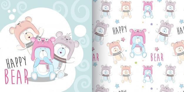 Leuke bear pattern-reeks, hand trekt illustratie-vector