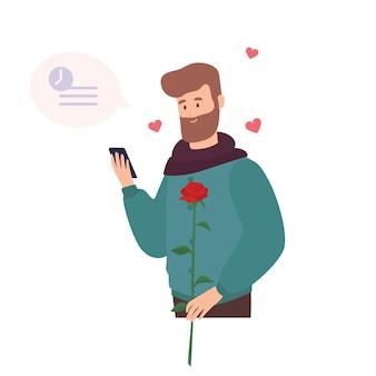 Leuke bebaarde man met roze bloem, wachtend op de eerste romantische date en sms'en of berichten verzenden via datingapplicatie voor smartphone. platte cartoon kleurrijk