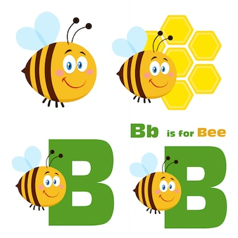 Leuke bee cartoon tekenset