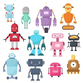 Leuke beeldverhaalrobots, androïde en ruimtevaarder cyborg geïsoleerde vectorreeks