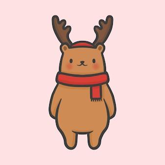 Leuke beer kostuum rendier kerst hand getekend cartoon stijl