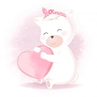 Leuke beer met illustratie van het hart de hand getrokken beeldverhaal