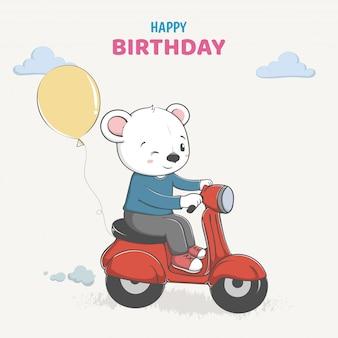 Leuke beer rijd op een motorfiets
