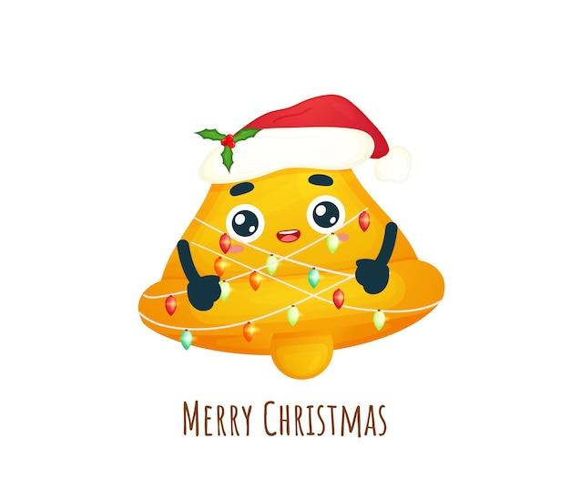 Leuke bel met kerstlicht voor vrolijke kerstillustratie premium vector