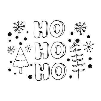 Leuke belettering van nieuwjaar en xmas hand getrokken vectorillustratie winterelementen