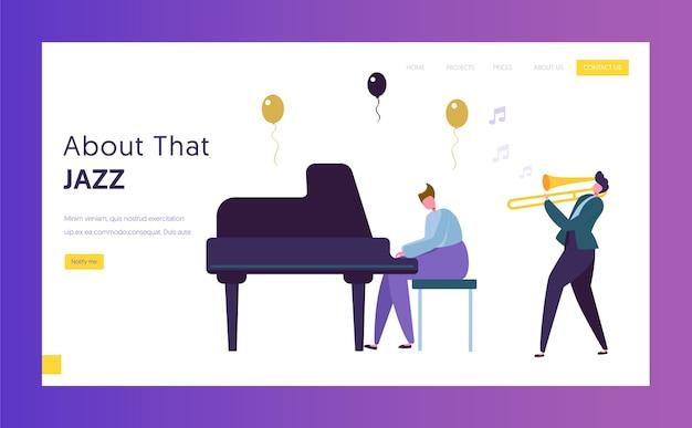 Leuke bestemmingspagina voor jazzprestaties. muzikant mannelijk karakter met muziekinstrument piano trompet muziek afspelen. kleurrijke band silhouet website of webpagina. platte cartoon vectorillustratie