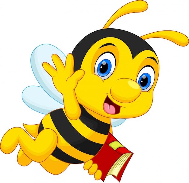 Leuke bijen vliegen terwijl ze een boek dragen
