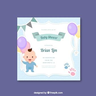 Leuke blauwe baby showeruitnodiging