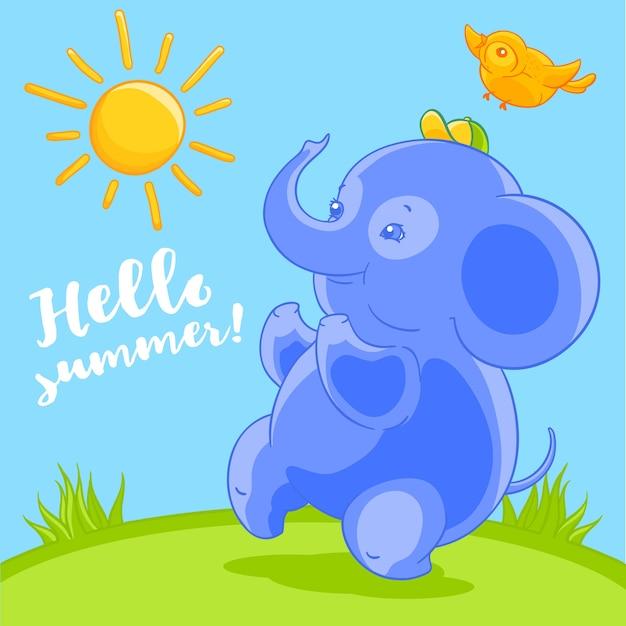 Leuke blauwe babyolifant en de mooie vogel in de gelukkige zomer van de beeldverhaalstijl op het groene gazon.