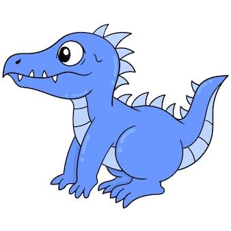 Leuke blauwe dinosaurus met scherpe tanden, vectorillustratieart. doodle pictogram afbeelding kawaii.