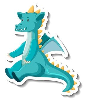 Leuke blauwe draak stripfiguur sticker