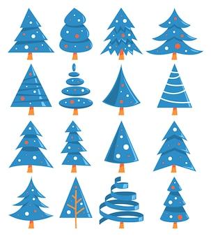 Leuke blauwe kerstboom van verschillende vorm set.
