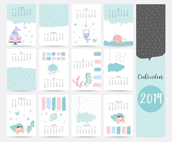 Leuke blauwe maandelijkse kalender