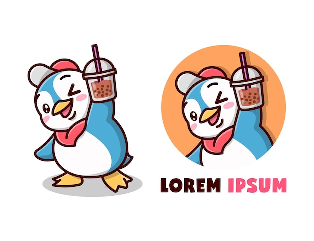 Leuke blauwe pinguïn brengt een boba drank cartoon logo