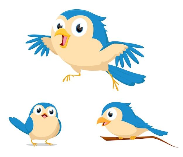 Leuke blauwe vogelcartoon