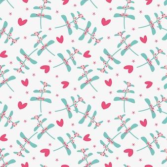 Leuke bloem en klein hart naadloos patroon.