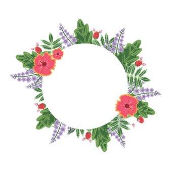 Leuke bloem floral krans cirkelframe vlakke afbeelding