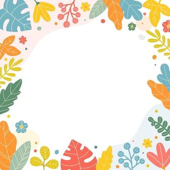 Leuke bloemen botanische frame achtergrond sjabloon