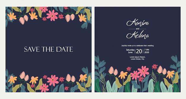 Leuke bloemen bruiloft uitnodiging kaartsjabloon
