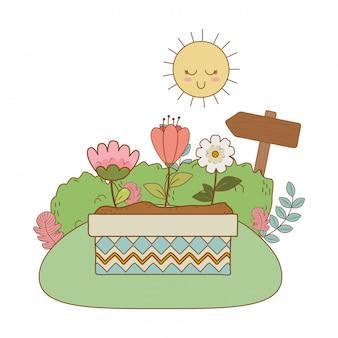Leuke bloemen en bladeren in de scène van het pottenlandschap