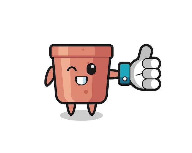 Leuke bloempot met symbool voor sociale media duimen omhoog, schattig stijlontwerp voor t-shirt, sticker, logo-element