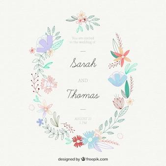 Leuke bloemrijke trouwkaart