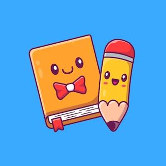Leuke boek en potlood cartoon afbeelding.