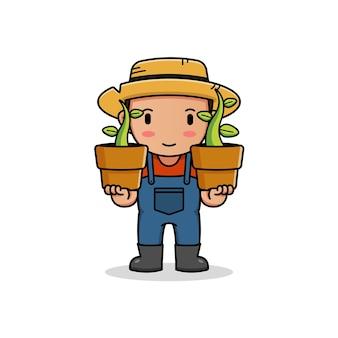 Leuke boer die plantknoppen in vazen draagt