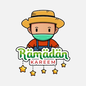 Leuke boer met ramadan kareem-groet
