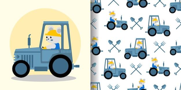Leuke boer tractor cartoon naadloze patroon print oppervlak ontwerp illustratie