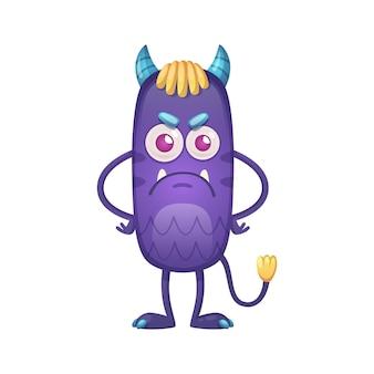 Leuke boze paarse duivel met kleine hoorns en staart cartoon afbeelding