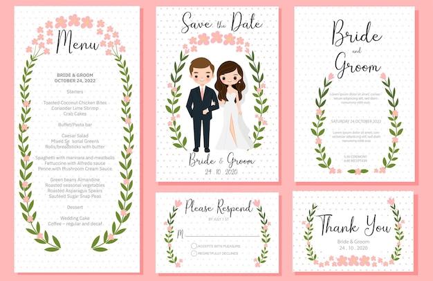 Leuke bruid en bruidegom cartoon met bruiloft inviation sjabloon kaartenset