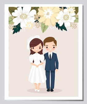Leuke bruid en bruidegom cartoon op bloem bruiloft uitnodigingskaart