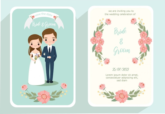 Leuke bruid en bruidegom cartoon op bruiloft uitnodigingskaart