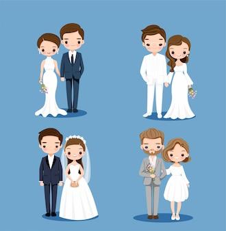 Leuke bruid en bruidegom cartoon tekenset collectie set