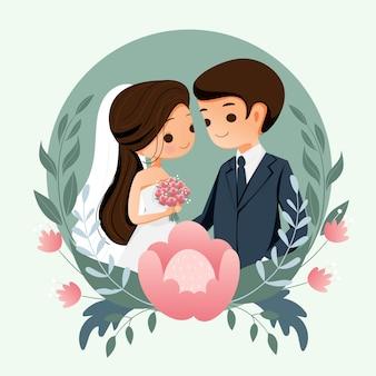 Leuke bruid en bruidegom met bloemachtergrond voor de kaart van de huwelijksuitnodiging
