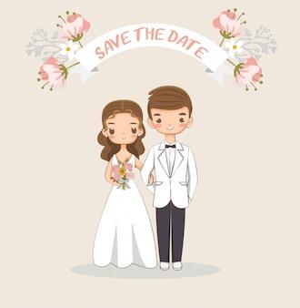 Leuke bruid en bruidegom voor de kaart van huwelijksuitnodigingen