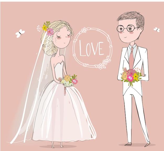 Leuke bruid met schattige bruidegom. vector illustratie