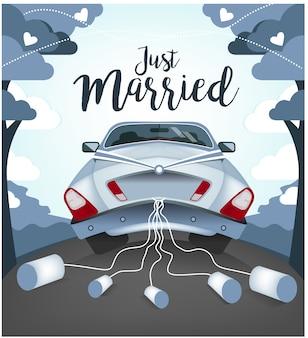 Leuke bruiloft auto illustratie